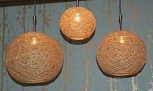 DIY Hanging Hemp Lamps