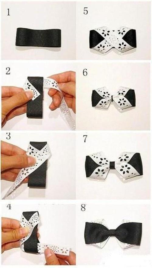 Как сделать бабочку на шею из ленты своими руками фото