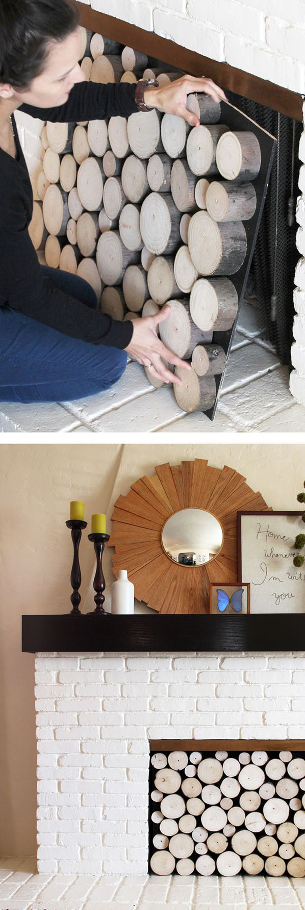 DIY stacked wood fireplace facade11