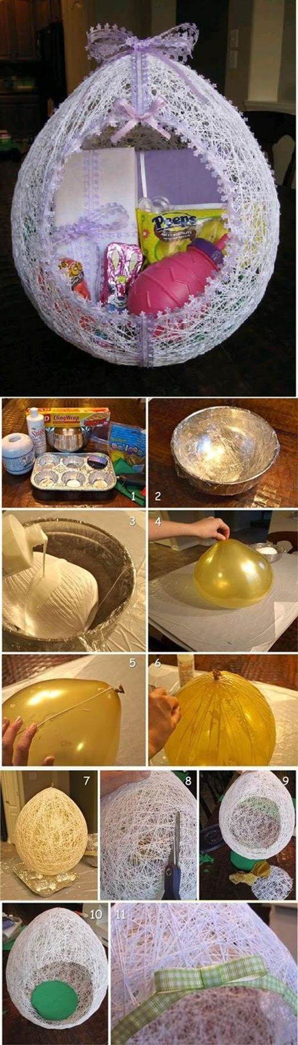 DIY Egg Shaped Easter String Basket22