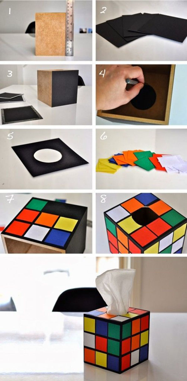 DIY Rubik's Cube Tissue Box Cover11