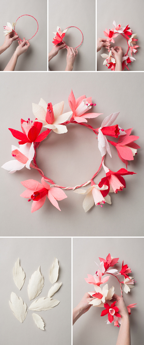 DIY Crepe Paper Flower Headband - Lia Griffith | 1430x597