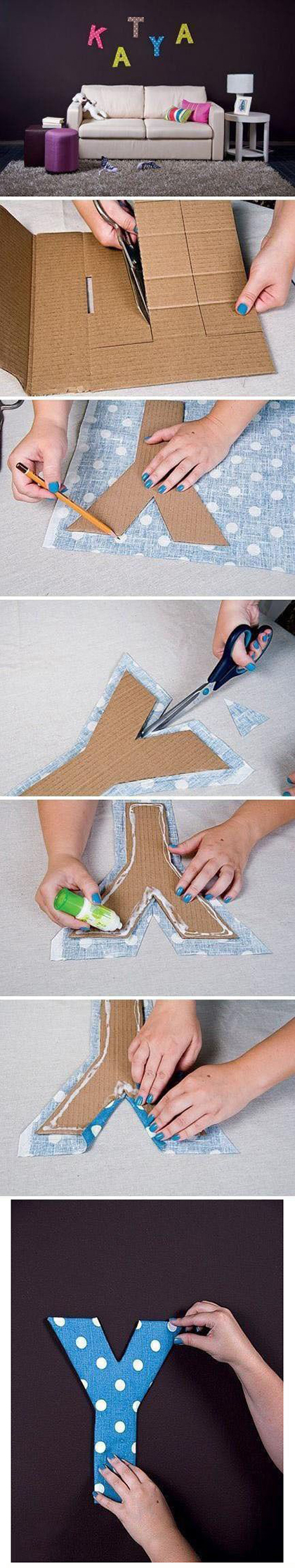 Fabric and Cardboard Wall Letters DIY11