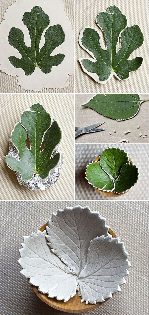Leaf bowls from air dry clay11
